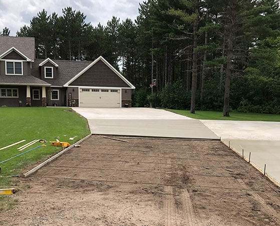 Residential driveway being prepped for a concrete pour